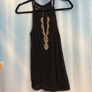 INC  Black linen beaded halter top. Size lg